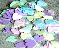Plantable heart confetti, embedded with seeds and in assorted colors