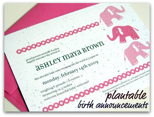 Plantable birth announcements