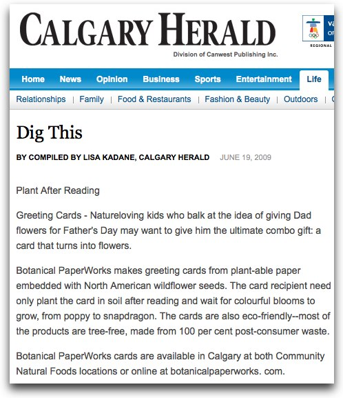 Calgary Herald article on Botanical PaperWorks plantable seed paper